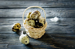 Quail eggs in the basket. On the rough wooden desk with a copy space Stock Images