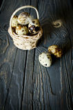 Quail eggs in the basket. On the rough wooden desk with a copy space Royalty Free Stock Images