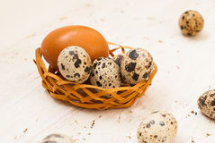Quail eggs in a basket on a white wooden background Royalty Free Stock Photography