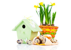 Quail eggs with birdhouse Royalty Free Stock Images