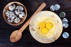 Quail eggs, bowl, broken eggs Stock Photos