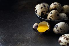 Quail eggs in a bowl. On a dark background Royalty Free Stock Photos