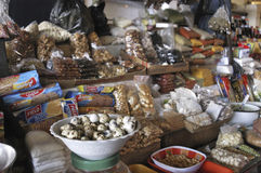 Quail eggs. Bowl with quail eggs, sold in grocery stall inside the central market of Tacna Stock Images