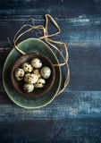 Quail eggs in bowl Stock Photography