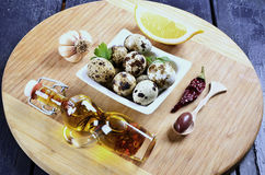 Quail eggs in a bowl Stock Images