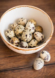 Quail eggs in a bowl on a wooden rustic table Stock Images