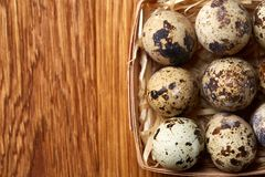 Quail eggs in a box on a rustic wooden background, top view, selective focus. Spotted quail eggs arranged in rows in a box on a rustic wooden background, top Royalty Free Stock Images
