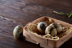 Quail eggs in a box on a rustic wooden background, top view, selective focus. Spotted quail eggs arranged in a box on a rustic wooden background, top view Royalty Free Stock Image