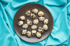 Quail eggs. In a brown plate stock photography