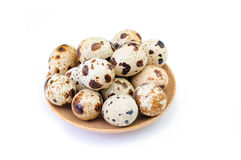 Quail eggs on a brown plate isolated on white backdrop Royalty Free Stock Images