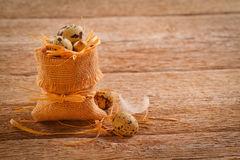 Quail eggs in burlap sack Stock Photography