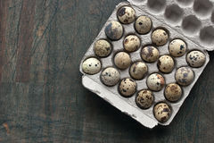 Quail eggs in the carbboard packing on the grey table Royalty Free Stock Images