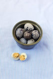 Quail Eggs in The Ceramic Bowl Royalty Free Stock Photography