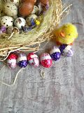 Quail eggs and chocolate eggs on the table Stock Photo