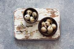 Quail eggs in a clay pots Royalty Free Stock Images