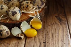 Quail eggs close up. Quail eggs on a wooden background close up Stock Photos