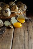 Quail eggs close up. On a wooden  background Stock Image