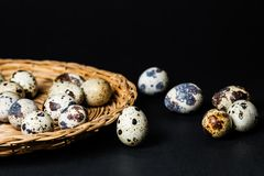 Quail eggs, colorful eggs, diet food royalty free stock photos
