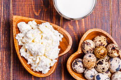 Quail eggs, cottage cheese, milk Stock Image