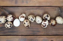 Quail eggs on a dark brown wooden surface, top view, empty place. For text, recipe Royalty Free Stock Photos