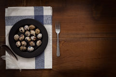 Quail eggs flat lay still life rustic with food stylis Stock Photo