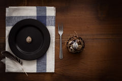 Quail eggs flat lay still life rustic with food stylish Royalty Free Stock Photography