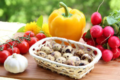 Quail Eggs and Fresh Vegetables Stock Photography