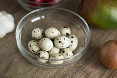 Quail eggs in glass bowl Royalty Free Stock Photo