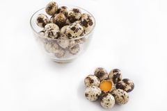 Quail eggs in the glass bowl Royalty Free Stock Image
