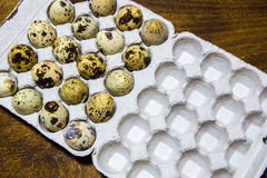 Quail eggs from the home farm. Ecological product.. Royalty Free Stock Photos
