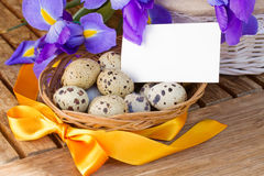 Quail eggs and irises for easter Royalty Free Stock Images
