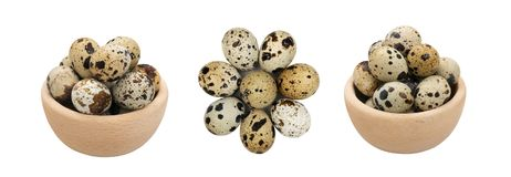 Quail Eggs Isolated on White. Background. Whole Bird Eggs in Wooden Bowl with Clipping Path Royalty Free Stock Photos