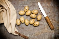 Quail eggs, knife and a napkin royalty free stock image