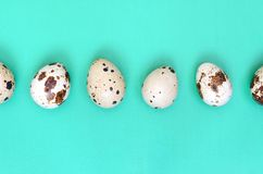 Quail eggs on a light green surface, top view, empty place for t. Ext, recipe royalty free stock photo