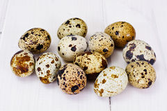 Quail Eggs on Light Wood Background Royalty Free Stock Photography