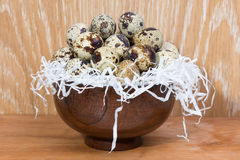 Quail eggs lying in a wooden bowl Stock Photography