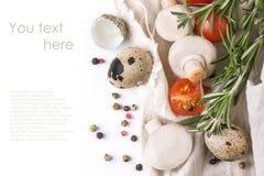 Free Quail Eggs, Mushrooms, Tomatoes And Rosemary Stock Photo - 29188210
