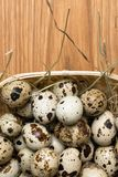 Quail eggs in a nest on a rustic wooden background. Healthy food concept. Quail eggs in a nest on a rustic wooden background. Healthy food concept Stock Image