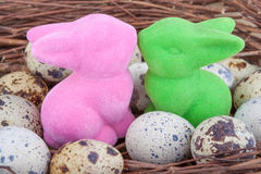 Quail eggs in nest with two Easter bunnies Royalty Free Stock Photo