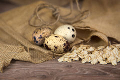 Quail eggs with oats. On wood background royalty free stock photography