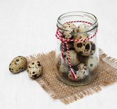 Quail eggs. On a old white wooden background Royalty Free Stock Photos