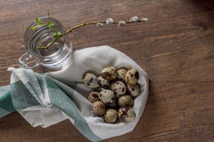 Quail eggs on an old wooden table and willow branch Stock Photos