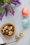 Quail eggs over bright background for easter celebration. Royalty Free Stock Images