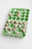 Quail eggs in the package. Photos quail eggs in a package Stock Images