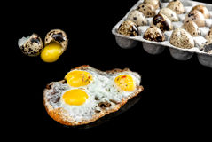 Quail eggs in the package,uncooked and broken eggs isolated on black background Royalty Free Stock Images