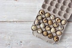 Quail eggs in the packing Royalty Free Stock Photos