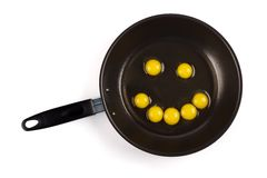 Quail eggs in pan forming smiley face Royalty Free Stock Photo
