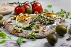 Quail eggs on pita bread royalty free stock image
