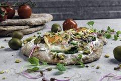 Quail eggs on pita bread stock image