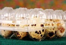 Quail eggs in a plastic bag. Stock Images